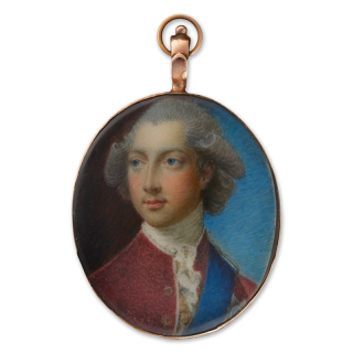 Portrait miniature of Prince Henry Frederick, Duke of Cumberland and Strathearn (1745-90), brother of King George III, wearing red coat, white chemise, blue sash and star of the Order of the Garter, c.1785-8