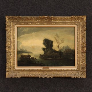 18th Century French Painting Seascape With Figures