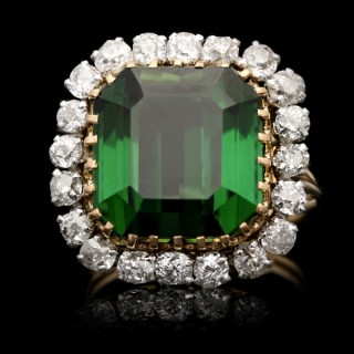 Vintage tourmaline and diamond cluster ring, circa 1970.
