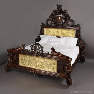 Exceptional Exhibition Austrian Neo-Baroque Mahogany Bed