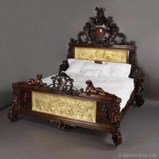 Exceptional Exhibition Austrian Neo-Baroque Mahogany Bed