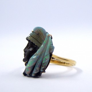 Victorian Carved Opal Portrait Ring