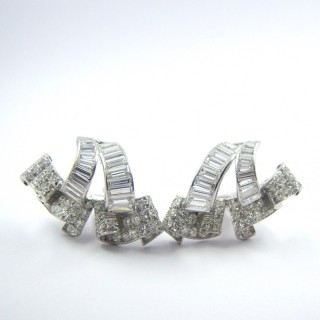 A Stunning Pair of Late Art Deco Diamond Earrings, By Drayson
