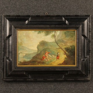 20th Century French Painting Landscape With Characters