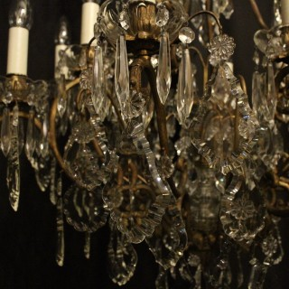 French Bronze & Crystal 13 Light Birdcage Chandelier