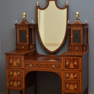 Spectacular Mahogany and Inlaid Dressing Table