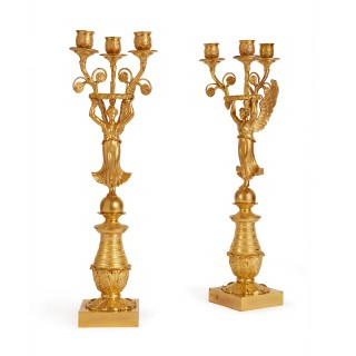 Pair of Empire style antique French ormolu candelabra