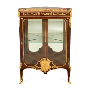 Ormolu mounted kingwood antique corner cabinet by Linke