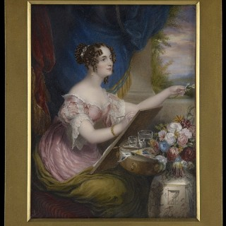 Portrait of The Hon. Emily Pakenham (née Stapleton) (1798-1875), wearing lace-trimmed pink dress and olive-green drape, seated at a table with flowers and painting, after Sir George Hayter (1792-1871), 1825