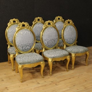 20th Century Group Of Six Italian Gilt Chairs