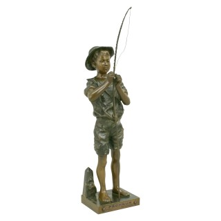 Bronze Fishing Figure by Lavergne.