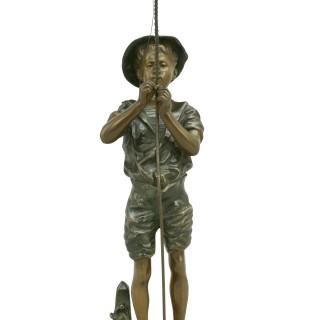 Bronze Fishing Figure by Lavergne.