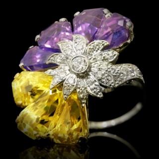Yellow and purple sapphire and diamond ring by Oscar Heyman Bros, circa 1960.