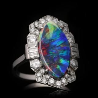 Art Deco black opal and diamond ring, circa 1935.