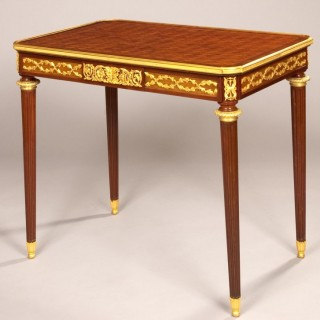 French Mahogany and Ormolu Side Table in the Louis XVI Manner