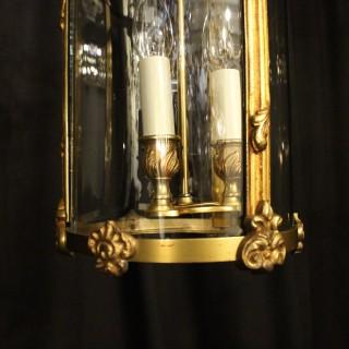 French Gilded Triple Light Antique Hall Lantern