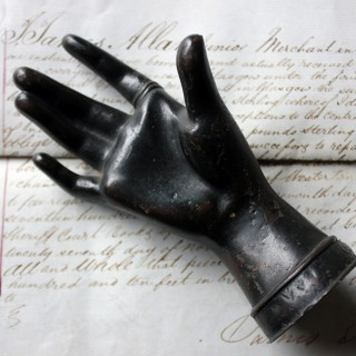 Good Quality Victorian Dark Patinated Cast Iron Paperweight in the Form of a Ladies Hand c.1870-80