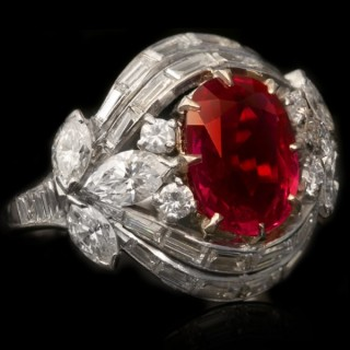 Burmese ruby and diamond cluster ring, circa 1950s.