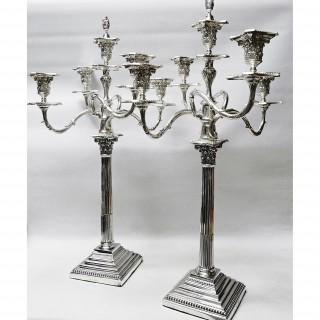 Antique Silver 5 Light Candelabras