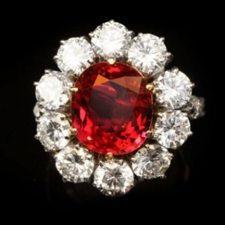 Vintage ruby and diamond coronet cluster ring, circa 1960.