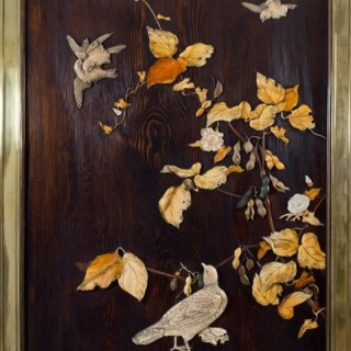 HIGHLY DECORATIVE JAPANESE SHIBAYAMA STYLE FRAMED PANEL