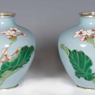 DELIGHTFUL PAIR OF JAPANESE MORIAGE CLOISONNE VASES