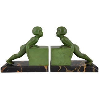 A Pair Of French Art Deco Child Bookends.