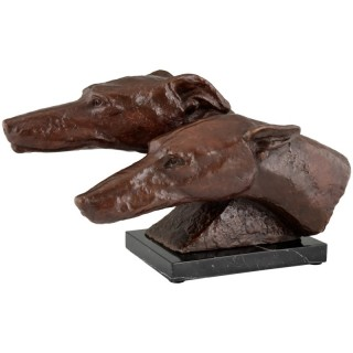 Art Deco bronze sculpture of two greyhounds or whippet dogs, 1930