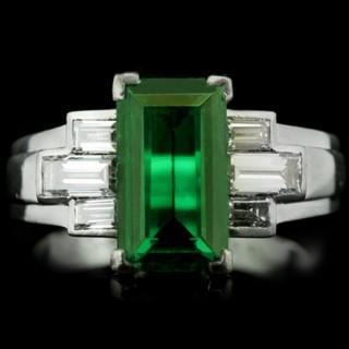 Gubelin Colombian emerald and diamond ring, circa 1943.