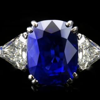 Natural Royal Blue Burmese sapphire and diamond ring, circa 1960s.