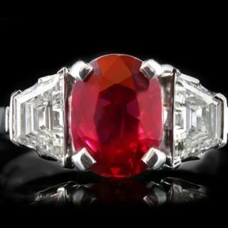 Pigeon Blood Burmese ruby and diamond ring, circa 1935.