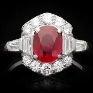 Art Deco Burmese ruby and diamond ring, circa 1935.