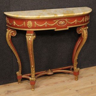 20th Century Italian Lacquered Console Table With Marble Top