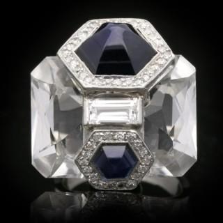 Seaman Schepps sapphire, diamond and rock crystal ring, circa 1940.