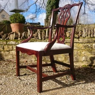 18th Century George III Period Mahogany Antique Library Armchair / Desk Chair / Carver Chair