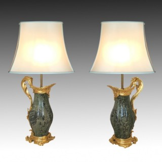French Gilt Bronze & Marble Louis XV Style Aiguières Lamps Attributed to Paul Sormani