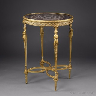Louis XVI Style Gueridon With A Rare Amethyst Quartz Marble Top