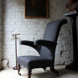 An Interesting & Unusual English Linen Upholstered Walnut Armchair c.1825-35