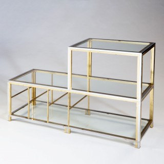 A chrome and brass 1970s etagere