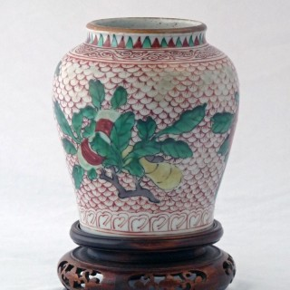 Transitional Wucai Jar Painted with the Three Abundances