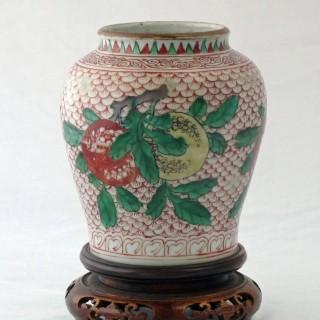 Transitional Wucai Jar Painted with the Three Abundances
