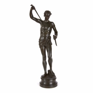 Patinated bronze antique figure of David by Paul Dubois