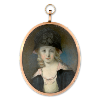 Portrait miniature of a Child wearing white dress, black and pink cloak and hat, her blonde hair worn long and curled