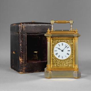 A rare giant size French carriage clock, by HENRI JACOT No. 4385, Paris c1890