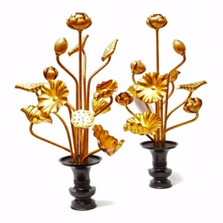 A pair of Japanese Ikebana gilt wood lotus flower bouquets