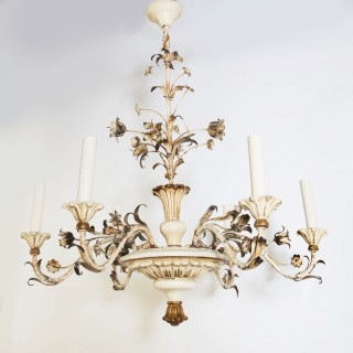 A mid century French  parcel gilt tole and wood chandelier