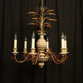 French Polychrome 6 Light Chandelier