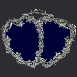 VICTORIAN SILVER MOUNTED DOUBLE HEART PHOTOGRAPH FRAME