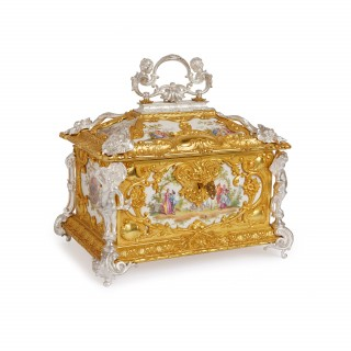 Silvered and gilt bronze KPM porcelain antique casket