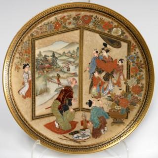 HUMEROUS JAPANESE SATSUMA PLATE SIGNED BY KIZAN